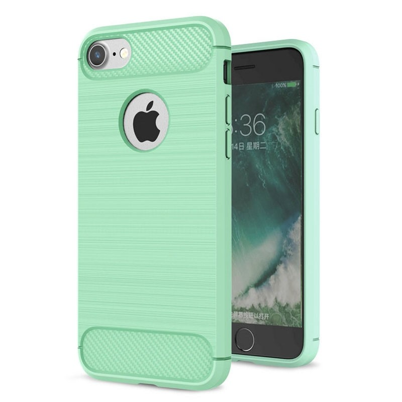 Mobiq - Hybrid Carbon iPhone 8/ 7 Plus Hoesje Mint Groen - 1