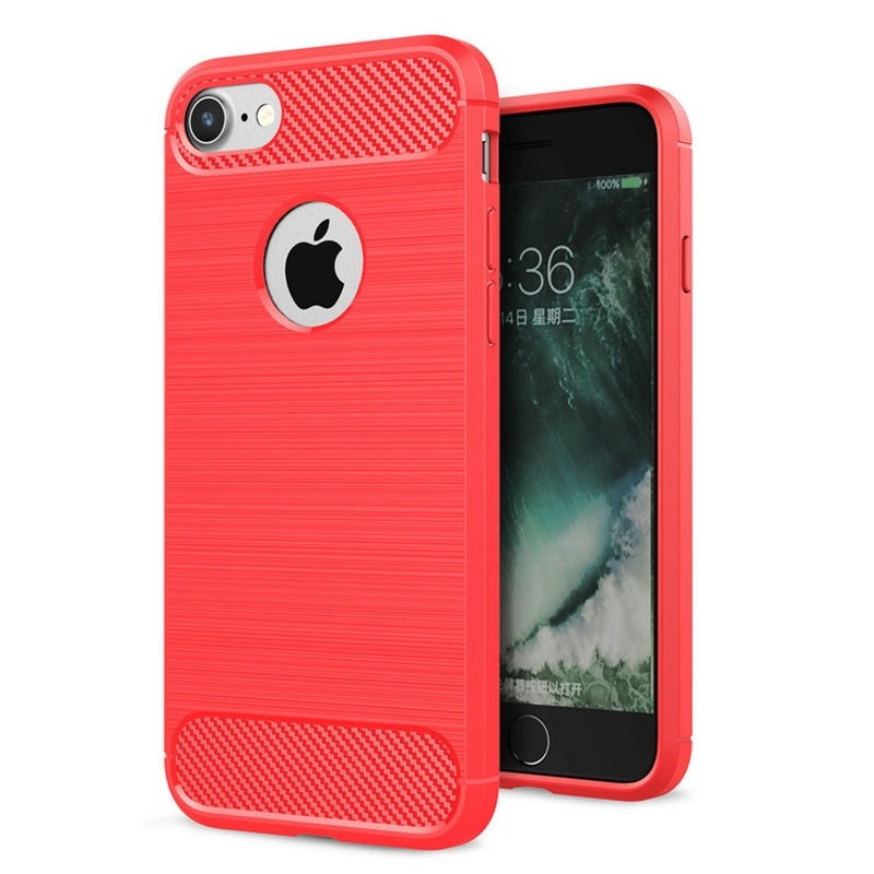 Mobiq - Hybrid Carbon iPhone 8/ 7 Plus Hoesje Rood - 1