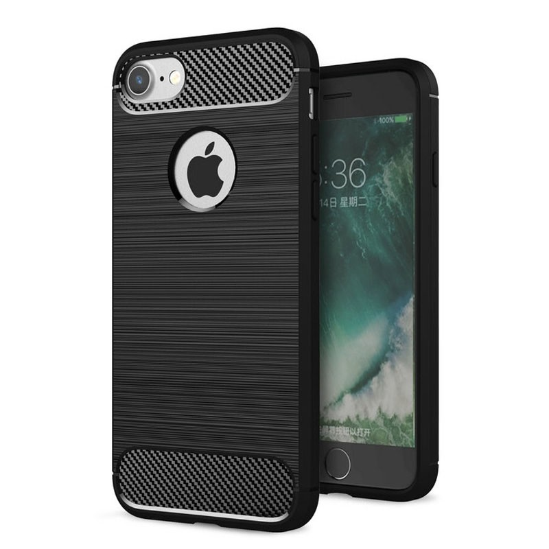 Mobiq - Hybrid Carbon iPhone 8/ 7 Plus Hoesje Zwart - 1