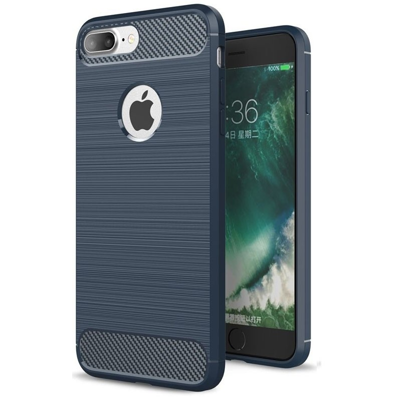 Mobiq - Hybrid Carbon iPhone 8 Plus / 7 Plus Hoesje Blauw - 1