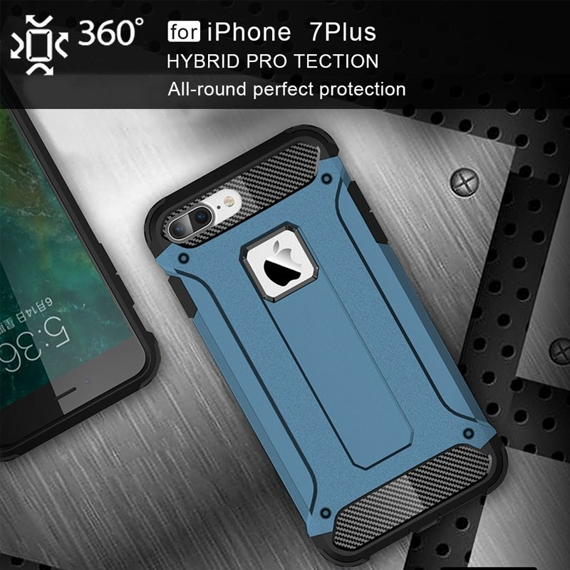 Mobiq - Rugged Armor Phone 8 Plus/7 Plus Hoesje Blauw - 4