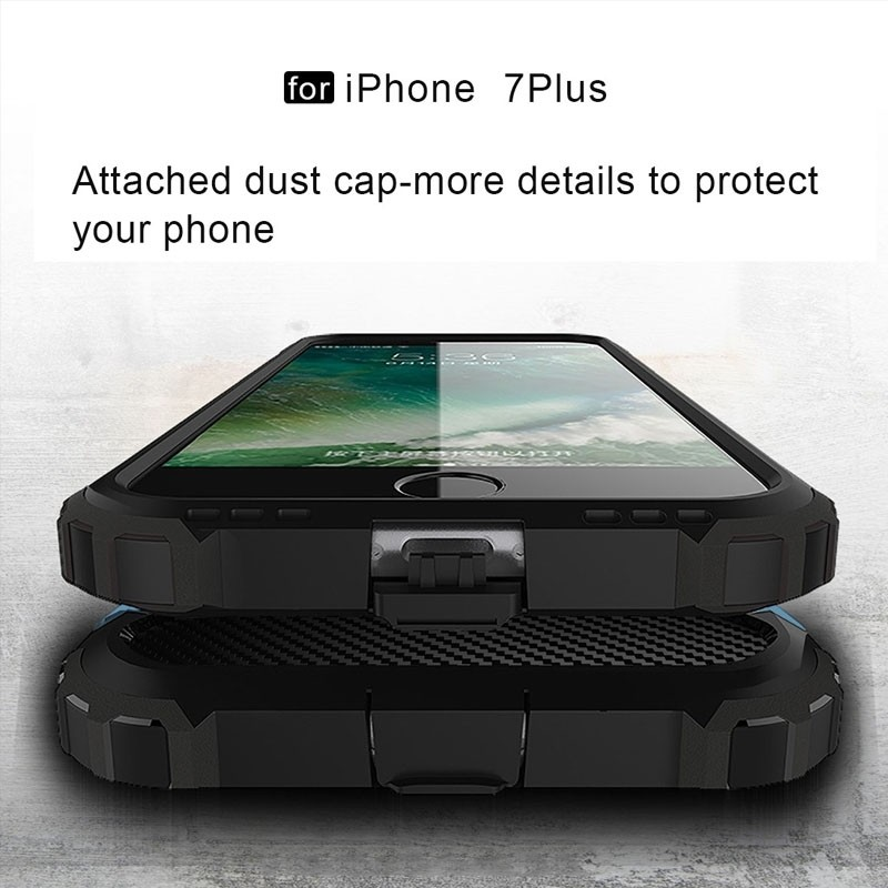 Mobiq - Rugged Armor Phone 8 Plus/7 Plus Hoesje Blauw - 2