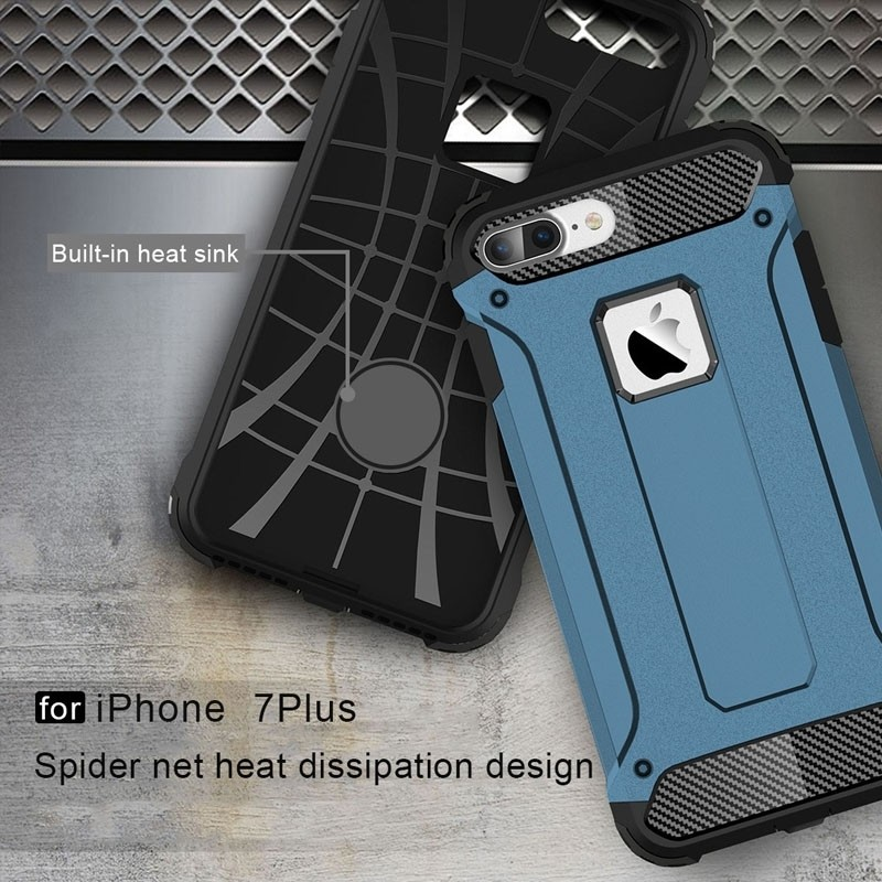 Mobiq - Rugged Armor Phone 8 Plus/7 Plus Hoesje Blauw - 5