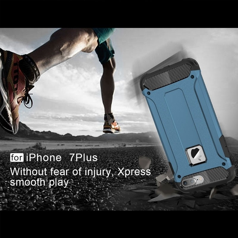Mobiq - Rugged Armor Phone 8 Plus/7 Plus Hoesje Blauw - 6