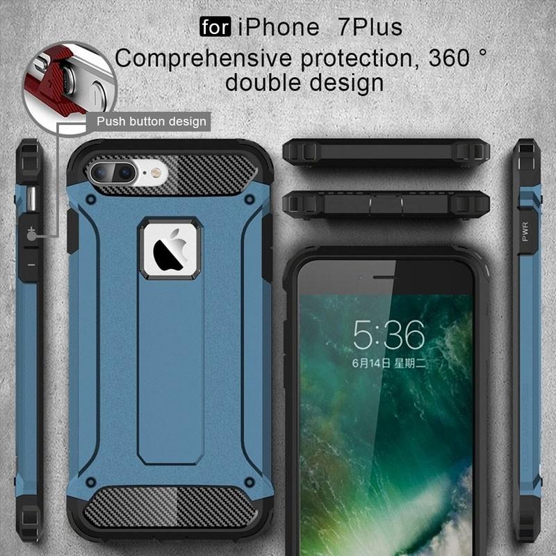 Mobiq - Rugged Armor Phone 8 Plus/7 Plus Hoesje Blauw - 7