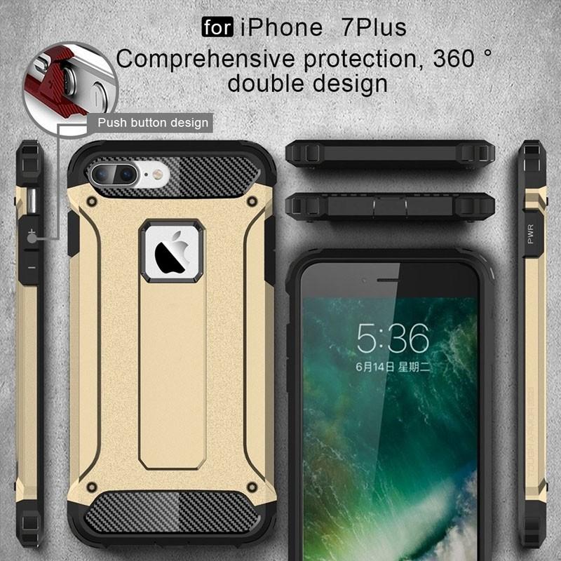 Mobiq - Rugged Armor Phone 8 Plus/7 Plus Hoesje Goud - 3