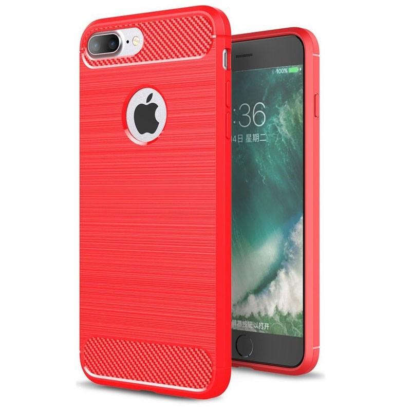 Mobiq - Hybrid Carbon iPhone 8 Plus / 7 Plus Hoesje Rood - 1