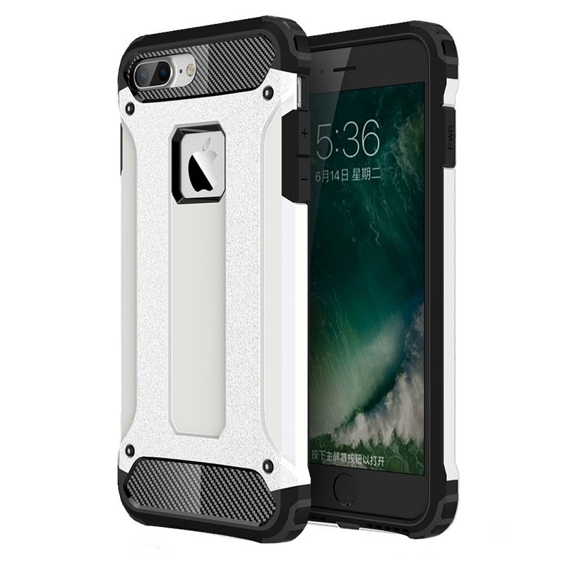Mobiq - Rugged Armor Phone 8 Plus/7 Plus Hoesje Wit - 1
