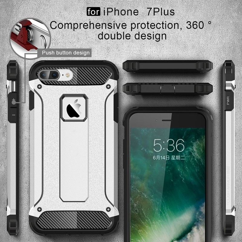 Mobiq - Rugged Armor Phone 8 Plus/7 Plus Hoesje Wit - 7