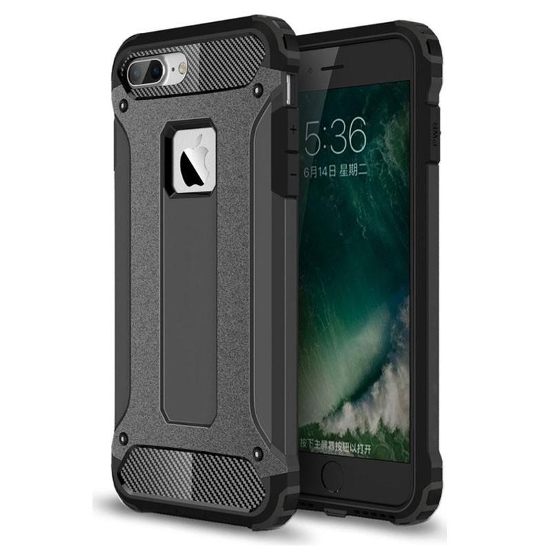 Mobiq - Rugged Armor Phone 8 Plus/7 Plus Hoesje Zwart - 1