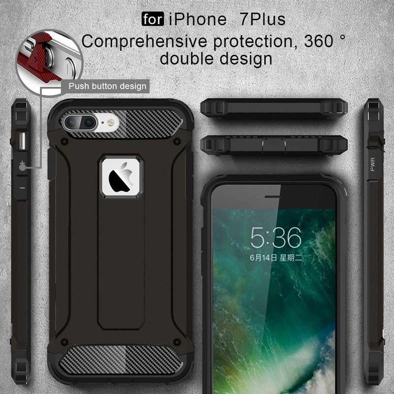 Mobiq - Rugged Armor Phone 8 Plus/7 Plus Hoesje Zwart - 2