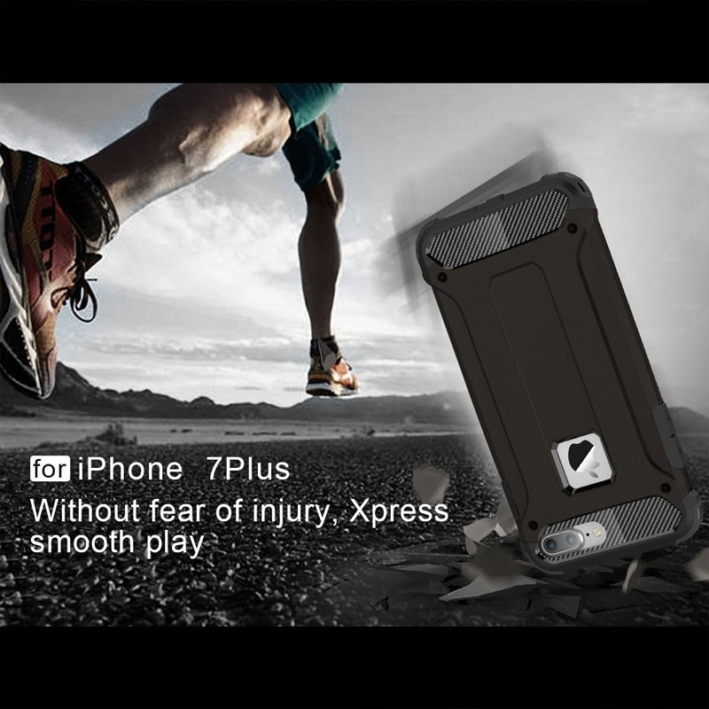 Mobiq - Rugged Armor Phone 8 Plus/7 Plus Hoesje Zwart - 3
