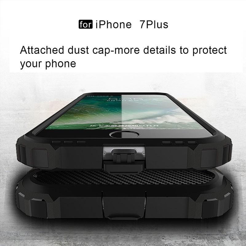 Mobiq - Rugged Armor Phone 8 Plus/7 Plus Hoesje Zwart - 6