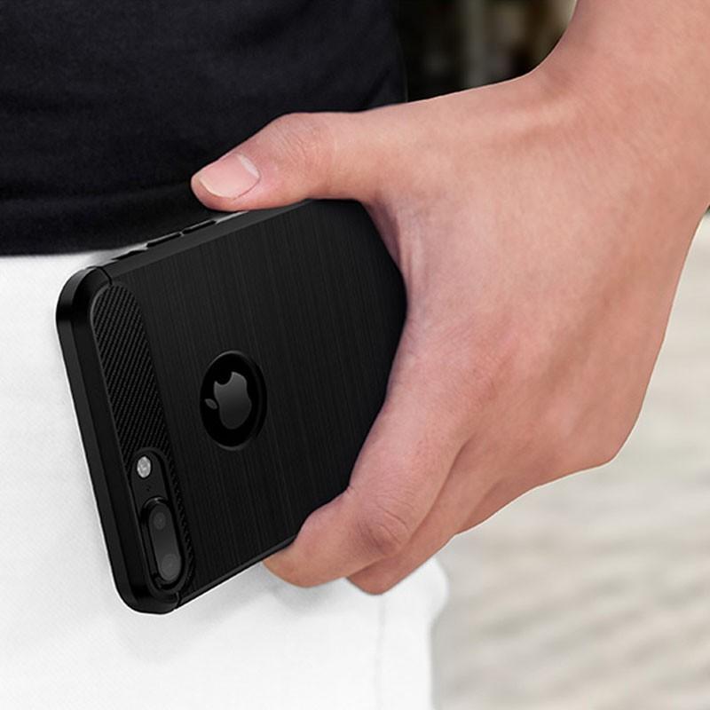 Mobiq - Hybrid Carbon iPhone 8 Plus / 7 Plus Hoesje Grijs - 2