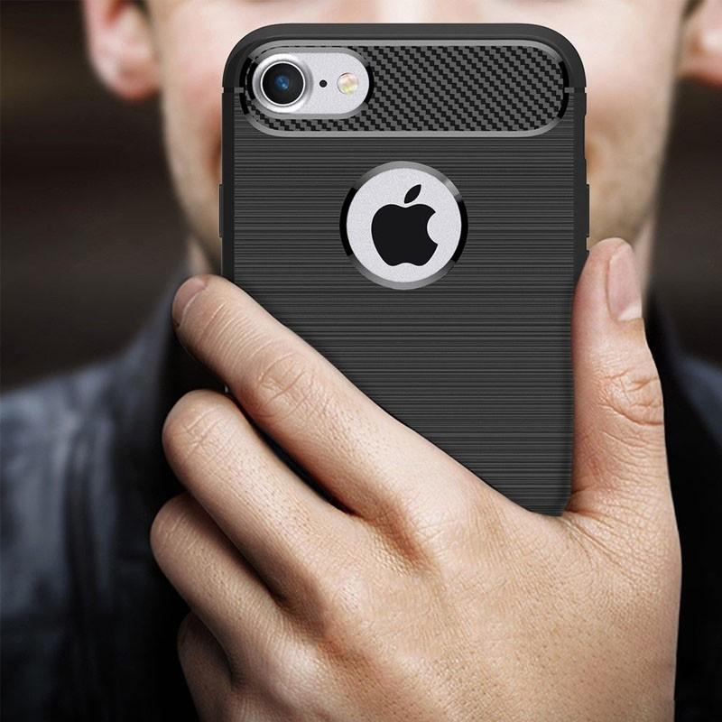 Mobiq - Hybrid Carbon iPhone 8 Plus / 7 Plus Hoesje Grijs - 5