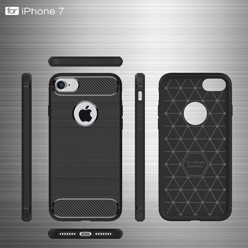 Mobiq - Hybrid Carbon iPhone 8 Plus / 7 Plus Hoesje Grijs - 7