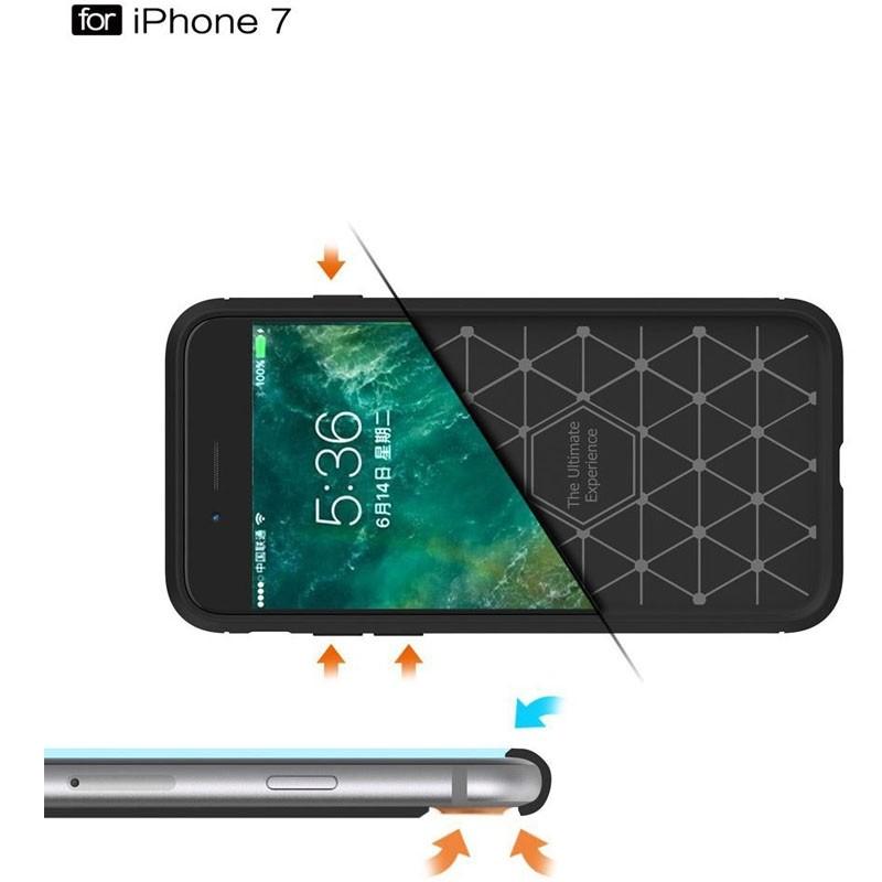 Mobiq - Hybrid Carbon iPhone 8 Plus / 7 Plus Hoesje Grijs - 8