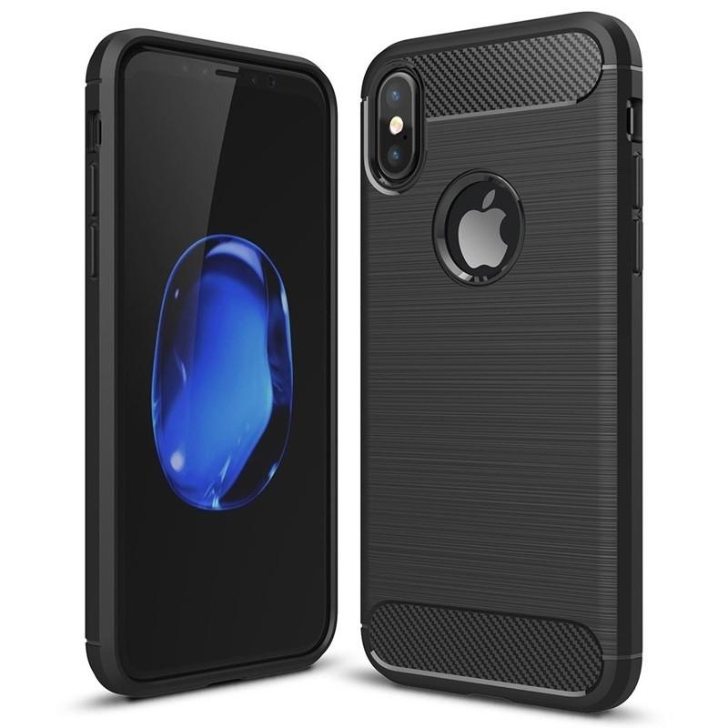 Mobiq - Hybrid Carbon TPU iPhone X/Xs Hoesje zwart 01