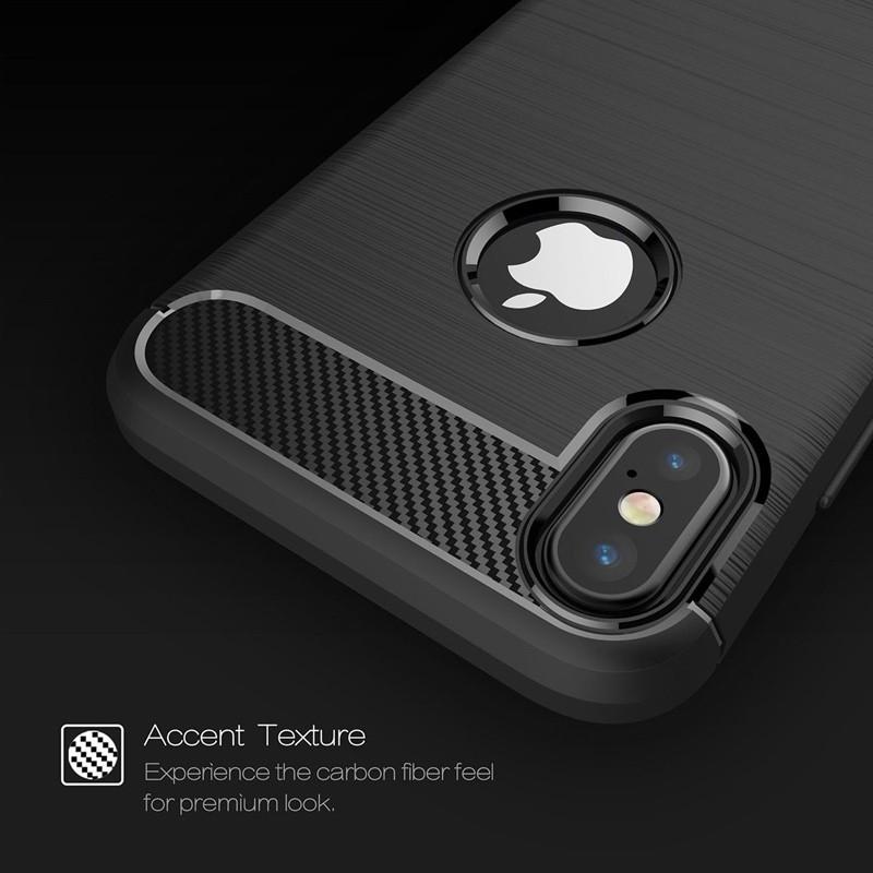 Mobiq - Hybrid Carbon TPU iPhone X/Xs Hoesje zwart 08