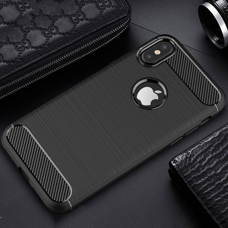 Mobiq - Hybrid Carbon TPU iPhone X/Xs Hoesje zwart 09