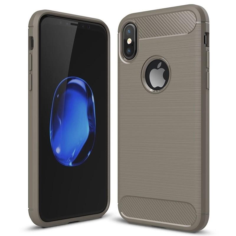 Mobiq - Hybrid Carbon TPU iPhone X/Xs Hoesje grijs 01