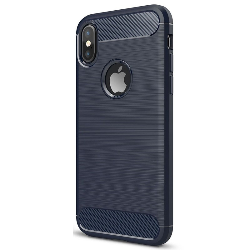 Mobiq - Hybrid Carbon TPU iPhone X Hoesje blauw 03