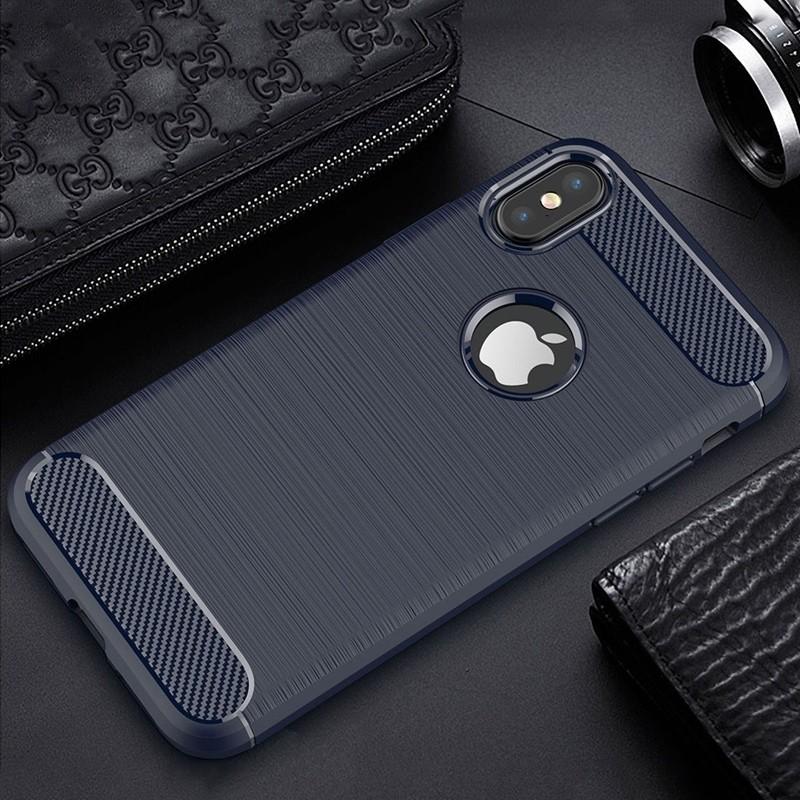 Mobiq - Hybrid Carbon TPU iPhone X Hoesje blauw 04