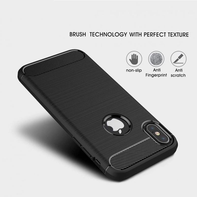 Mobiq - Hybrid Carbon TPU iPhone X Hoesje blauw 08