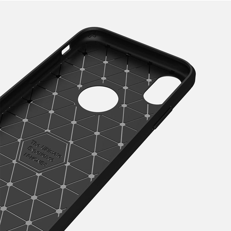 Mobiq - Hybrid Carbon TPU iPhone X Hoesje blauw 09