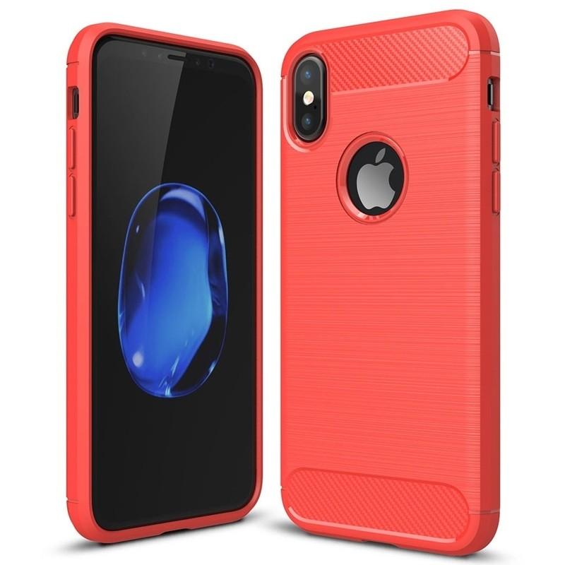 Mobiq - Hybrid Carbon TPU iPhone X/Xs Hoesje rood 01