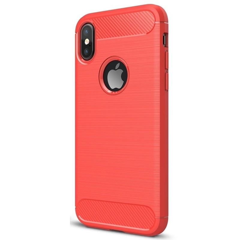 Mobiq - Hybrid Carbon TPU iPhone X/Xs Hoesje rood 03