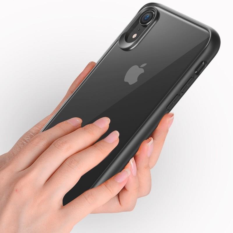 Mobiq Clear Rugged Case iPhone XR Blauw Transparant 02