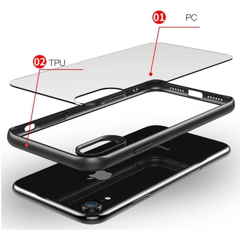 Mobiq Clear Rugged Case iPhone XR Blauw Transparant 03