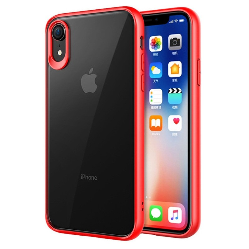 Mobiq Clear Rugged Case iPhone XR Rood Transparant 01