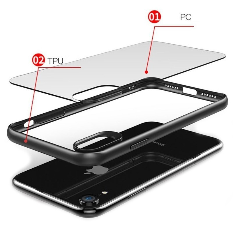 Mobiq Clear Hybrid Case iPhone XS Max Blauw 03