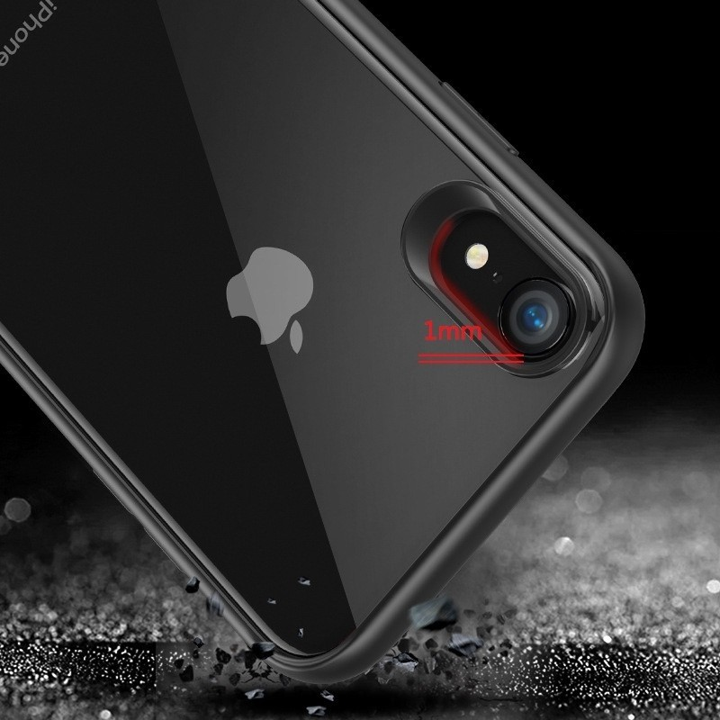 Mobiq Clear Hybrid Case iPhone XS Max Zwart 04