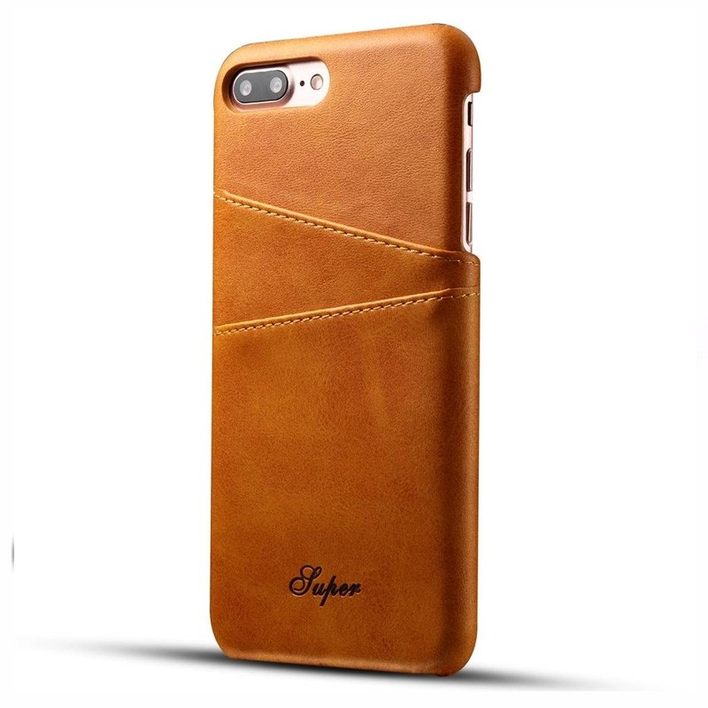 Mobiq Leather Snap On Wallet iPhone 8 Plus/7 Plus Tan Brown - 1