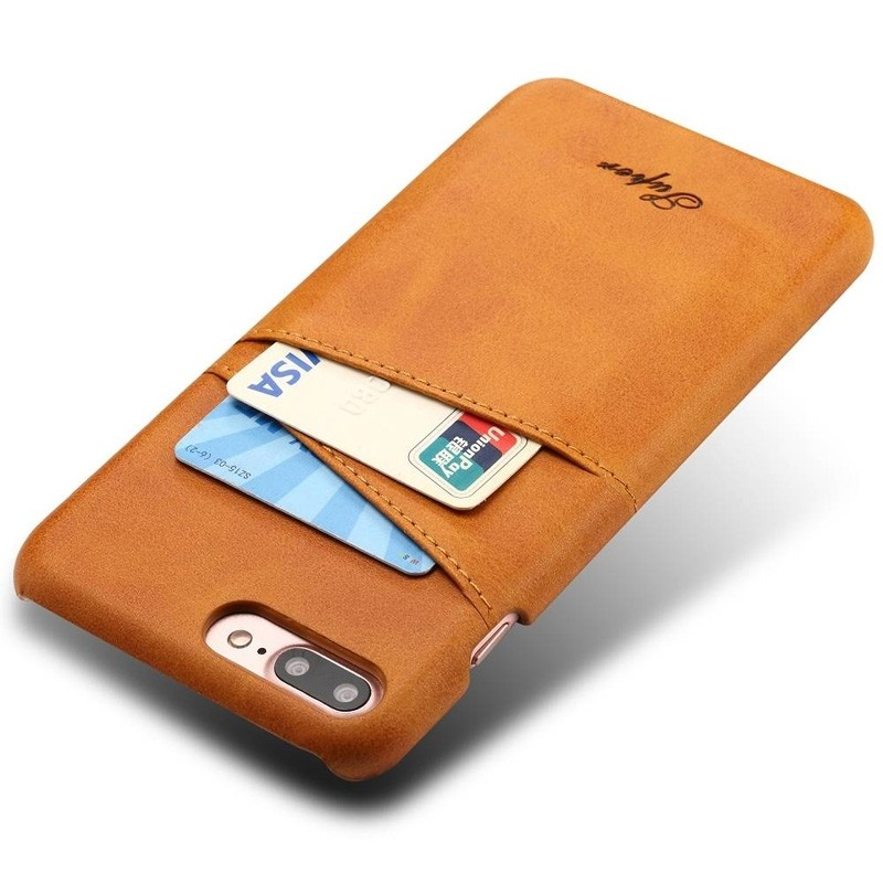 Mobiq Leather Snap On Wallet iPhone 8 Plus/7 Plus Tan Brown - 2