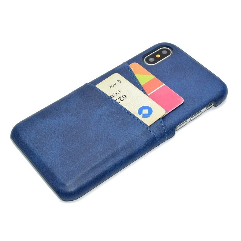 Mobiq Leather Snap On Wallet Case iPhone X/Xs Blauw  02