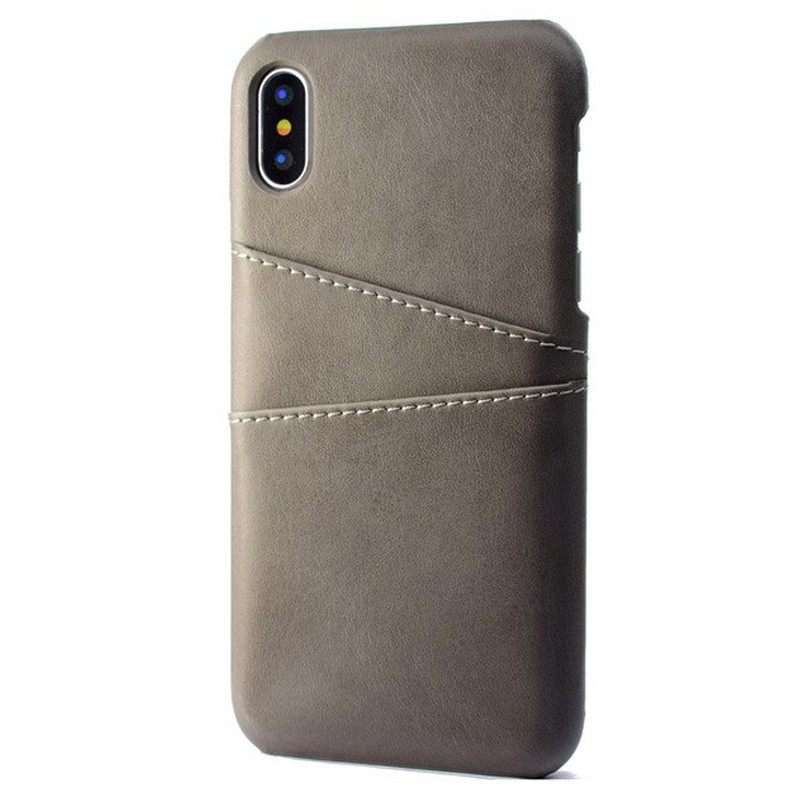 Mobiq Leather Snap On Wallet Case iPhone X/Xs Grijs 01