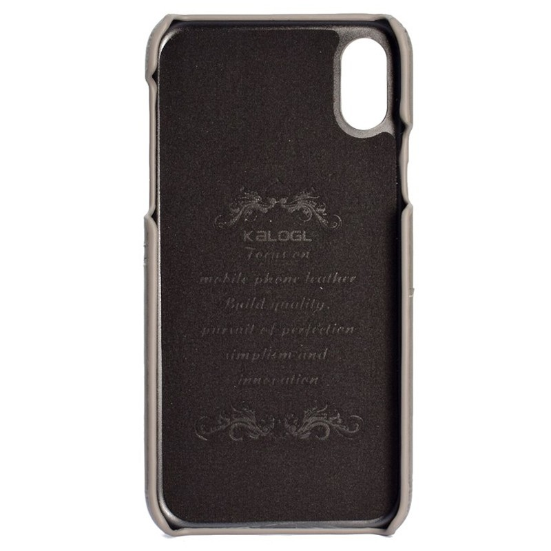 Mobiq Leather Snap On Wallet Case iPhone X/Xs Grijs 02