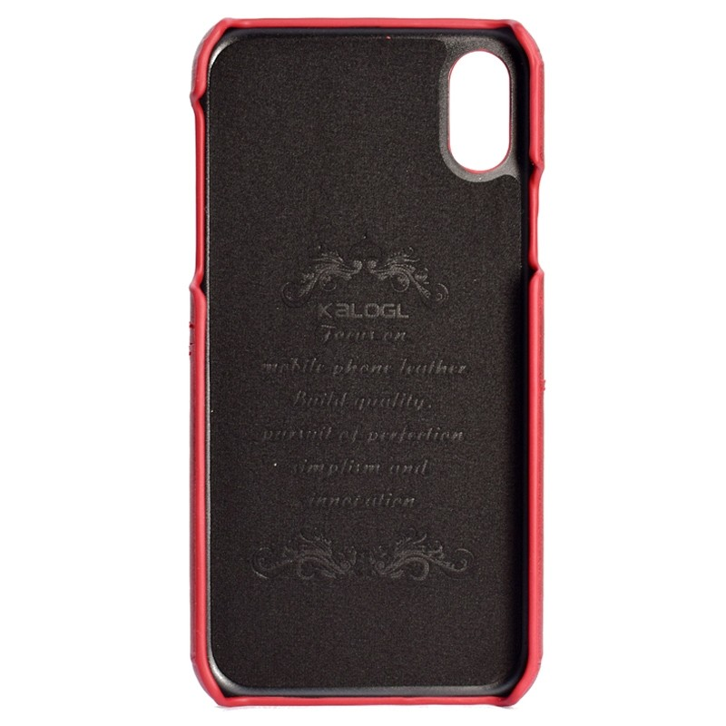 Mobiq Leather Snap On Wallet Case iPhone X/Xs Rood 02