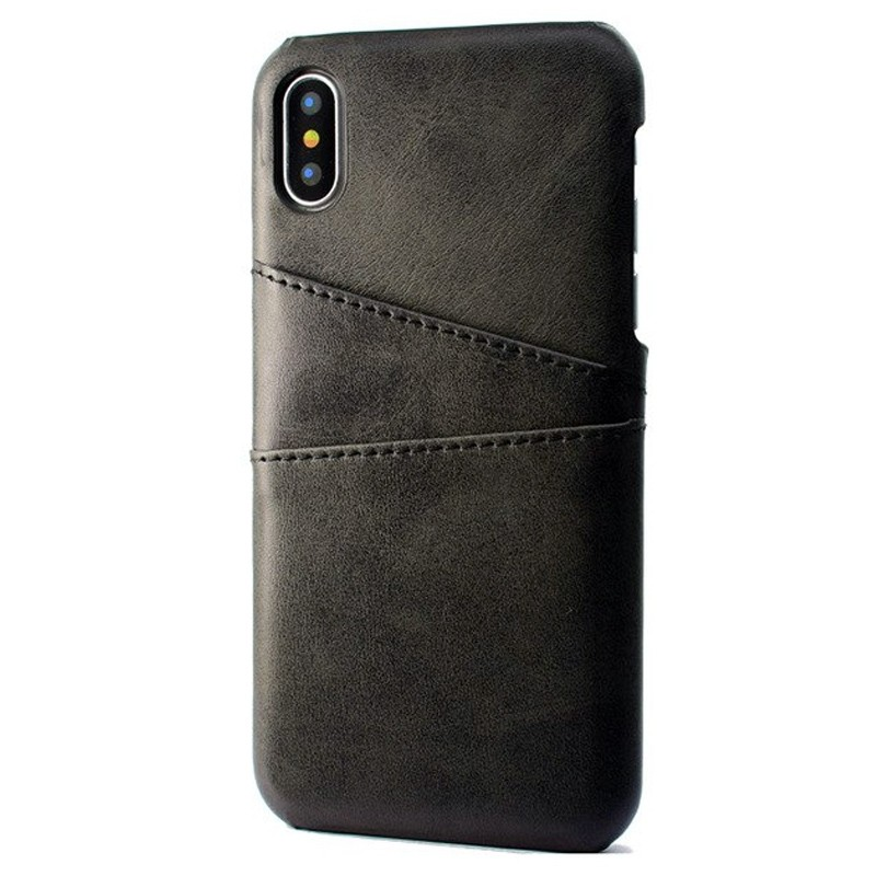 Mobiq Leather Snap On Wallet Case iPhone X/Xs Zwart 01
