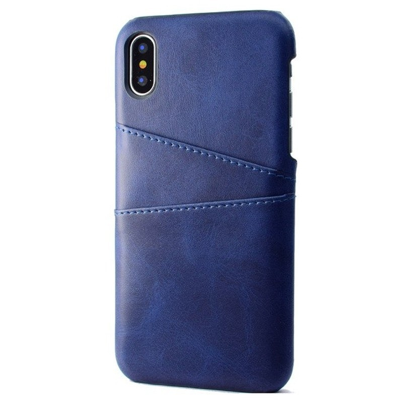 Mobiq Leather Snap On Wallet iPhone XR Blauw 01