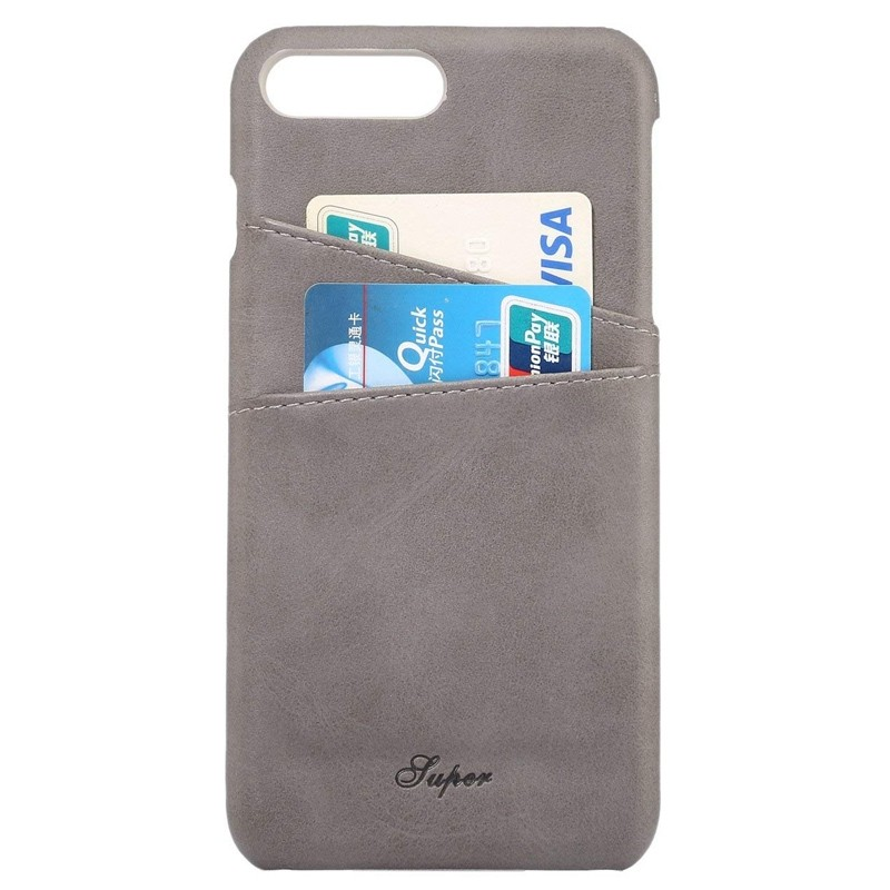 Mobiq Leather Snap On Wallet Case iPhone 8 Plus/7 Plus Grijs 02