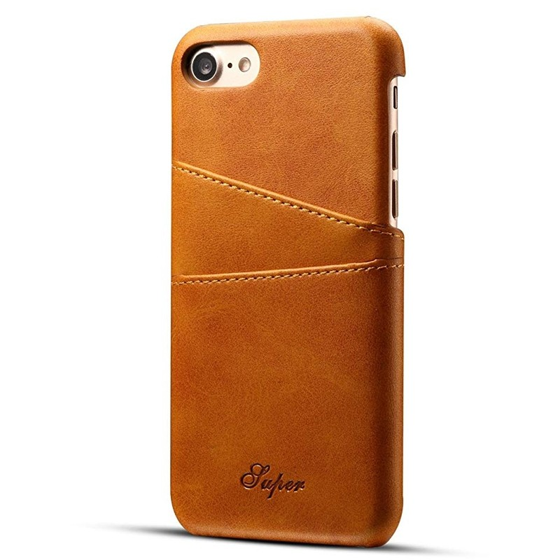 Mobiq Leather Snap On Wallet Case iPhone 8/7 Tan 01
