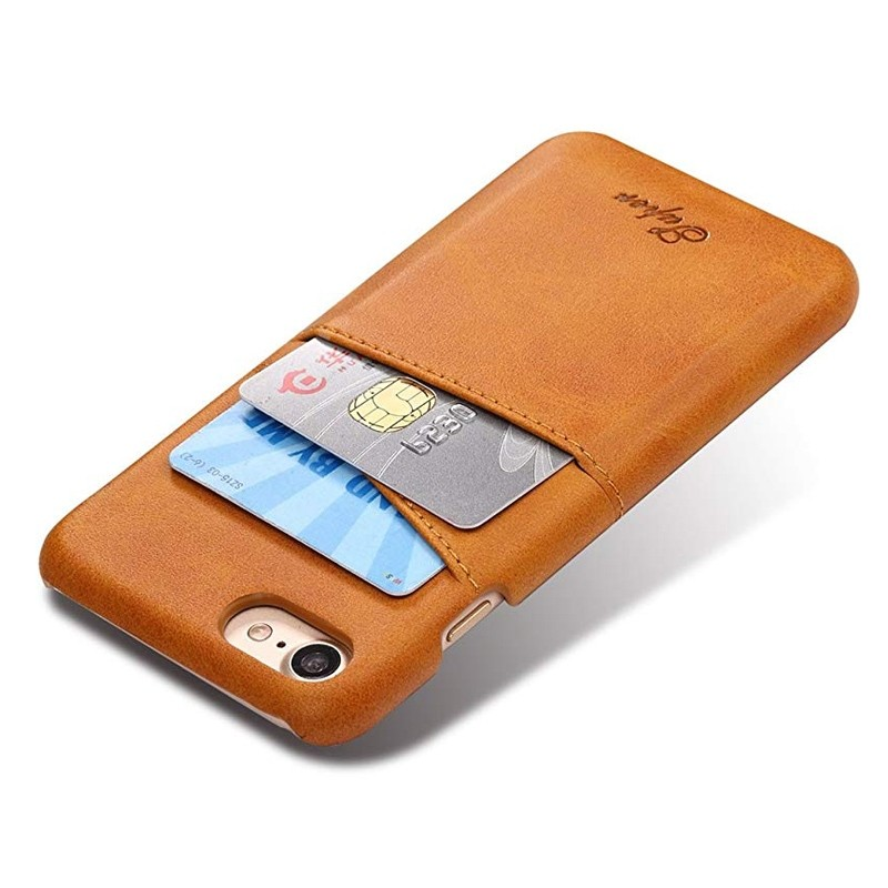 Mobiq Leather Snap On Wallet Case iPhone 8/7 Tan 03