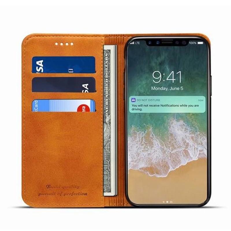 Mobiq Lederen iPhone X/Xs Portemonnee Hoes Tan 04