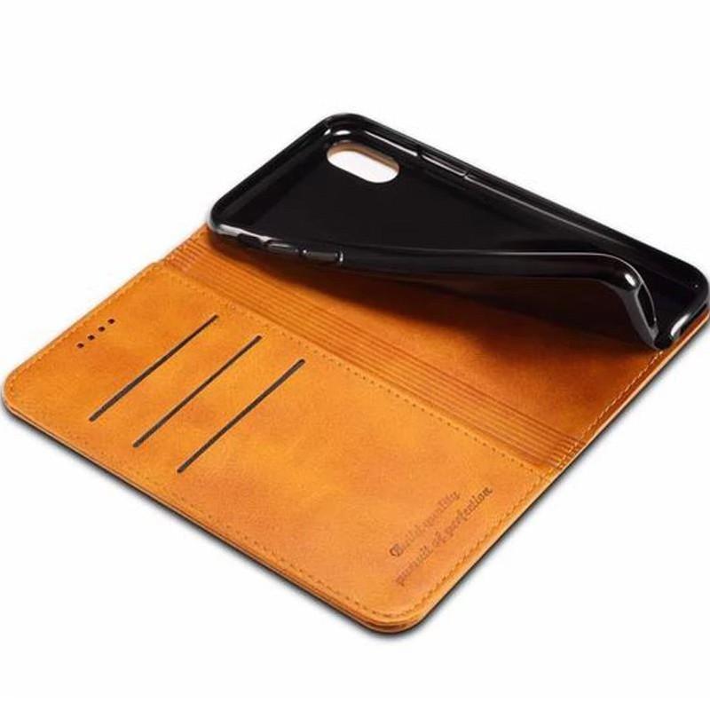 Mobiq Lederen iPhone X/Xs Portemonnee Hoes Tan 02