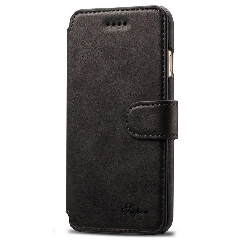 Mobiq Premium Lederen iPhone 8 / iPhone 7 Wallet hoes Zwart 01
